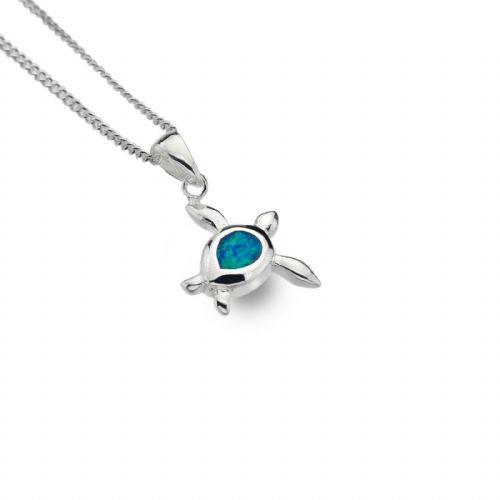 Blue Opal Turtle Pendant Sterling Silver 925 Hallmarked All Chain Lengths